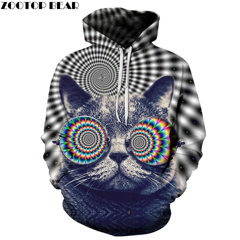 Cat Flower Eye 3D Print Hoodie Men Women Sweatshirts Tracksuit Casual Pullover Hoody Streetwear Spring Coat Zootop Bear Dropship