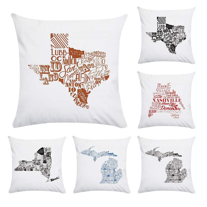 America Style Lettr Map Printed Cushion Cover Polyester Pillow Case Cushion Cover For Home Sofa Car CR140