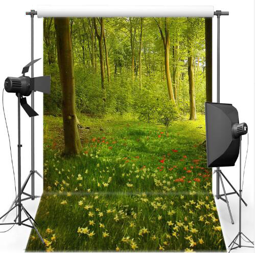 Vinyl Photography Backdrops photo Background green forest in spring Children backgrounds for photo studio S-2396 spring background photography for kids photos green screen photography backdrops children photo props custom made backgrounds