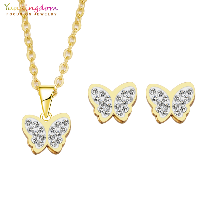 Yunkingdom Jewelry-Sets Necklaces Stainless-Steel Butterfly Crystals White Fashion Brand