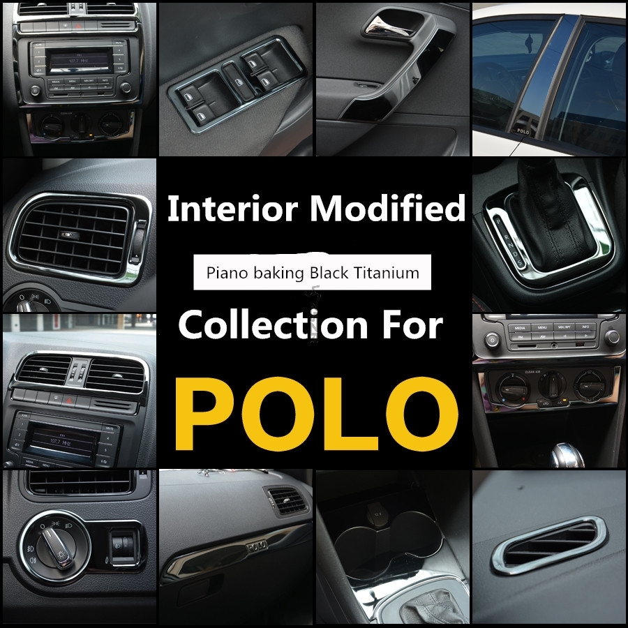 Stainless Steel Black Titanium Air Outlet Protective / Decorative Frame Interior Modified Collection For Volkwagen POLO Z2EA214