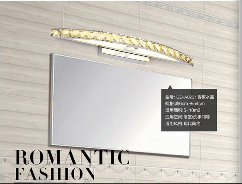 Free Shipping 10W Waterproof LED Bathroom Vanity Crystal Wall Light Mirror Light Fixtures For New Year 44cm long CE ROHS dhl free shipping 9w with switch led mirror light for hotel bathroom washroom wall spot light 85 240v waterproof led wall light