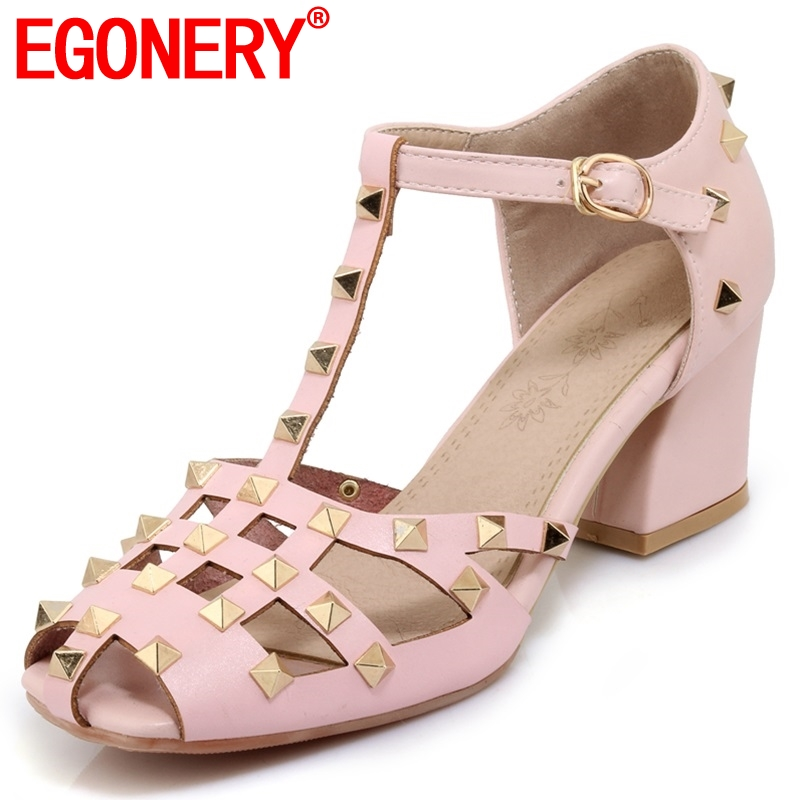 EGONERY fashion brand Punk rivet Cover Heel womens shoes Ankle Strap Buckle Strap Party 5.5 cm High Square hhels SandalsEGONERY fashion brand Punk rivet Cover Heel womens shoes Ankle Strap Buckle Strap Party 5.5 cm High Square hhels Sandals