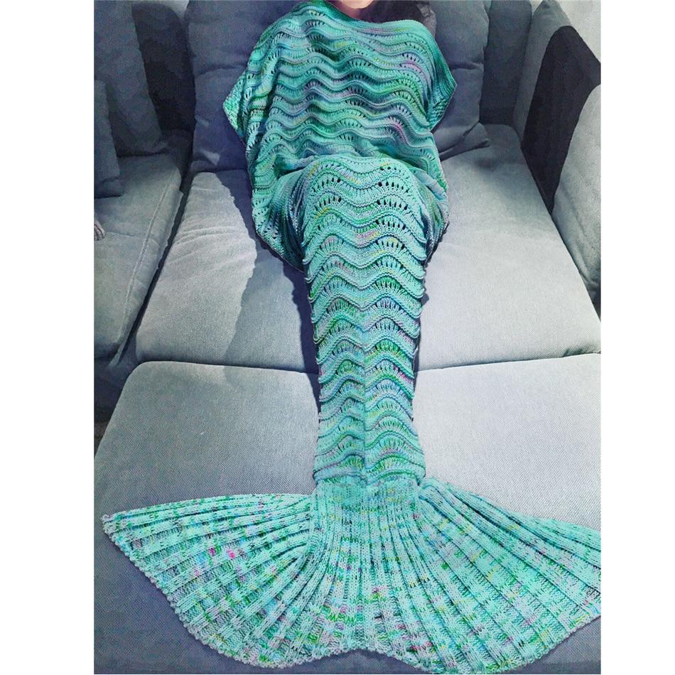 Christmas Gift Yarn Knitted Hollow Mermaid Tail Blanket Handmade Crochet Mermaid Blanket Kids