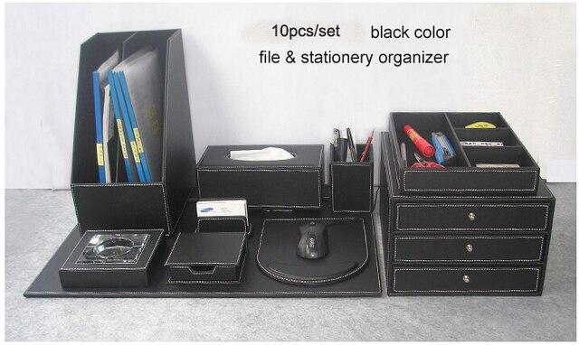 Set Ufficio Legno : Pz set file da ufficio in pelle scrivania in legno di