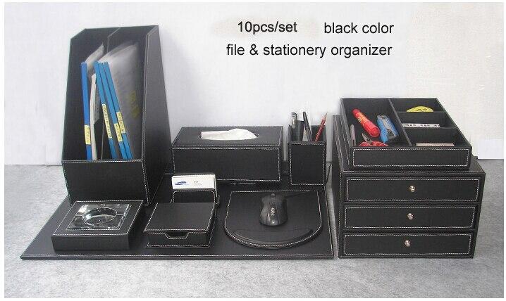 unidsset archivo escritorio de oficina accesorios de escritorio de cuero de madera y