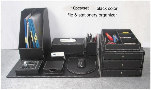10pcs Set Wood Leather Office Desk File Stationery Accessories Organizer Holder Pen Cabinet