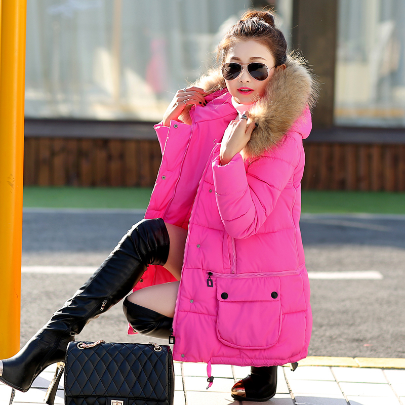ФОТО Autumn and Winter Jacket Women 2016 Real Fur jacket Women Thick Cotton-padded Jacket Coat Outwear Female Long Winter Coat Parka