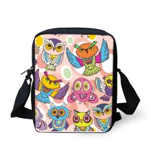 INSTANTARTS Cartoon Owl Pattern Small School Bags Casual Kids Mini Crossbody Bags Canvas Children Book Shoulder Bags Boys Girls(China)