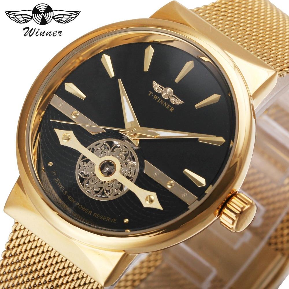 где купить WINNER Fashion Vintage Men Automatic Mechanical Watch 3D Skeleton Dial 20 Jewels 40H Power Reserve Golden Mesh Strap Wristwatch по лучшей цене