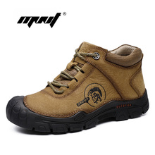 Natural Leather Lace Up Men Boots Super Warm Fur Snow Handmade Waterproof Ankle Plus Size Winter Shoes
