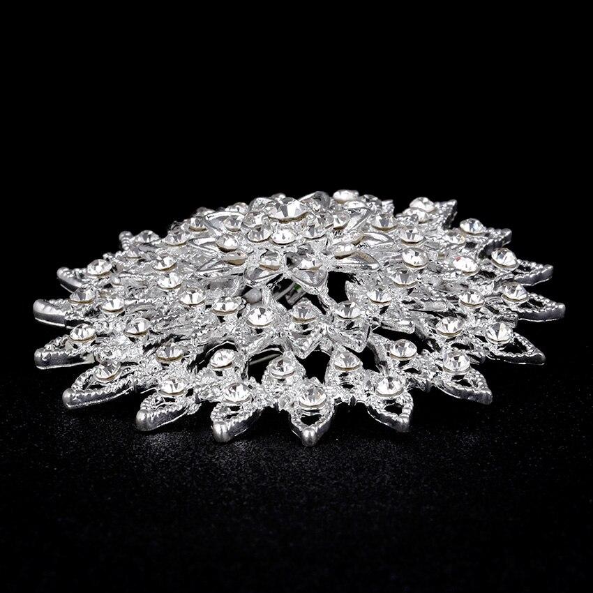 Gümüş rhinestone broş buket büyük broşlar başörtüsü - Kostüm mücevherat - Fotoğraf 3