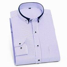 206545bd4 2019 أحدث طوق مصمم الرجال مخطط قمصان زائد حجم 8XL البنفسج الأزرق حامل Doule  طوق زر