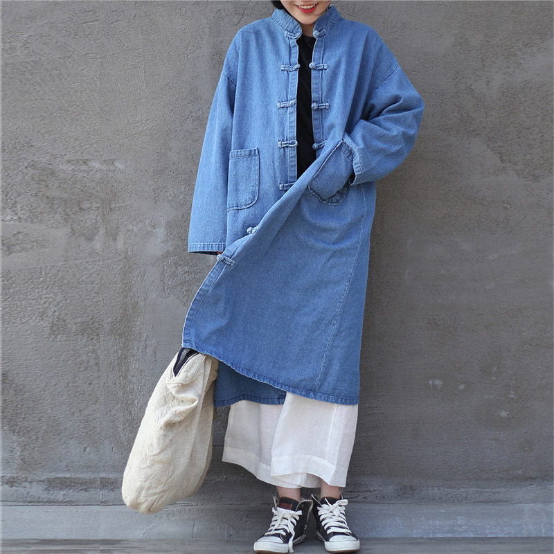 SCUWLINEN 2019 Spring Autumn Coat Women Vintage Stand Collar Handmade Plate Buttons Loose Denim Long Trench