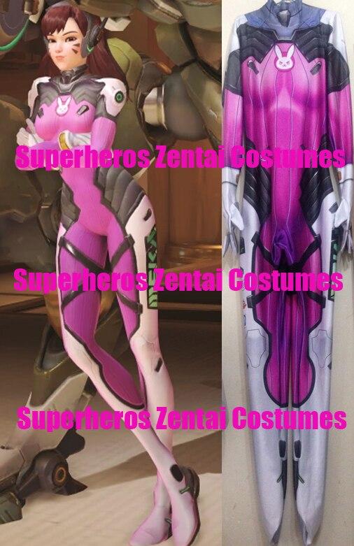 High Quality 3D Print D.va Watermelon Skin Cosplay Costumes Zentai dva Catsuit Halloween Female Bodysuit Womens girls Costumes