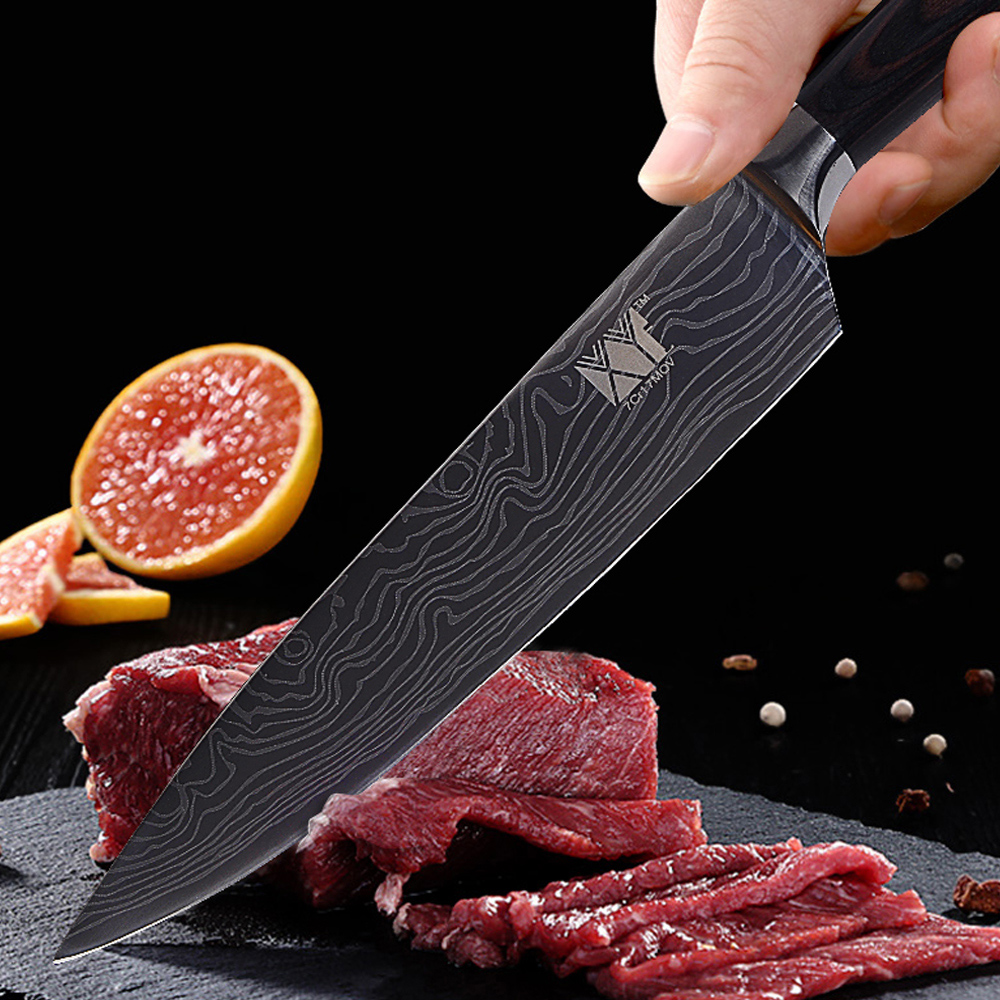 XYj Kitchen Knives High Carbon 7Cr17 Stainless Steel Knife Damascus Veins Pattern Cooking Tools 3.5, 5, 5, 7, 8, 8 inch 6pcs Set