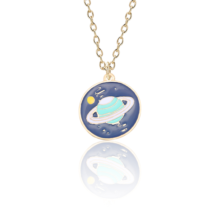 Fashion Creative Satellite Jewelry Personality Color Planet Necklace Men And Women Trend Metal Pendant Jewelry Pendant Gift