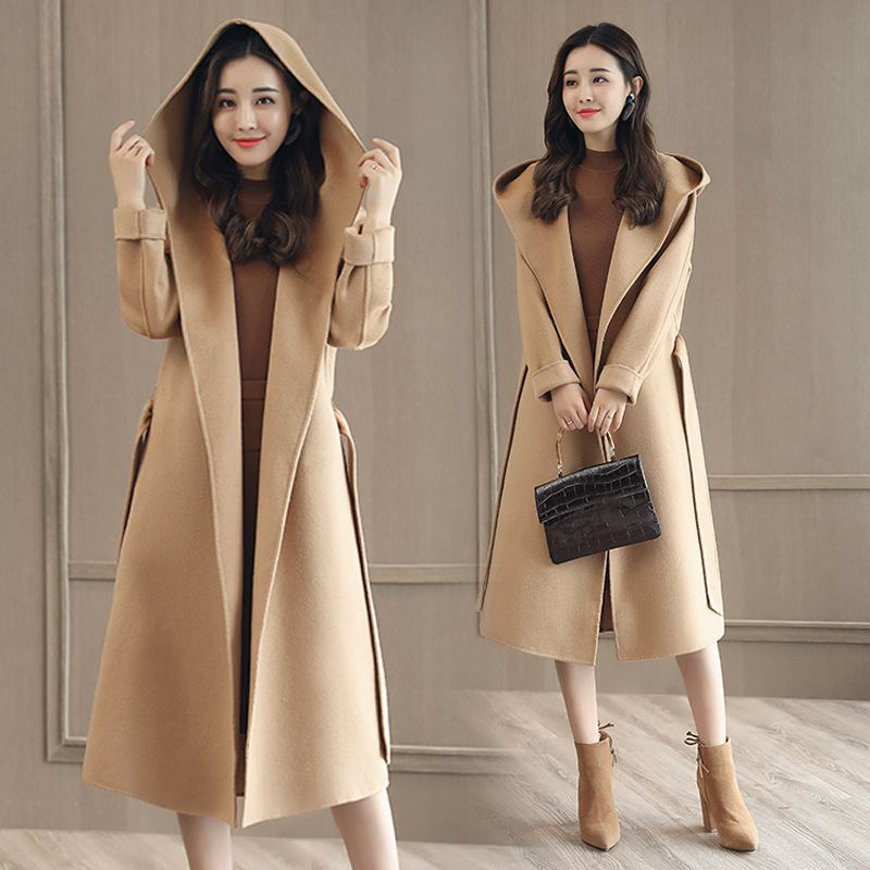 2018 Automne/Vestes Femme Hiver Chaud Laine Mélange Couleur Uni Outwear Femmes À Capuche Avec Ceinture En Laine Manteau Oversize Grande taille O706