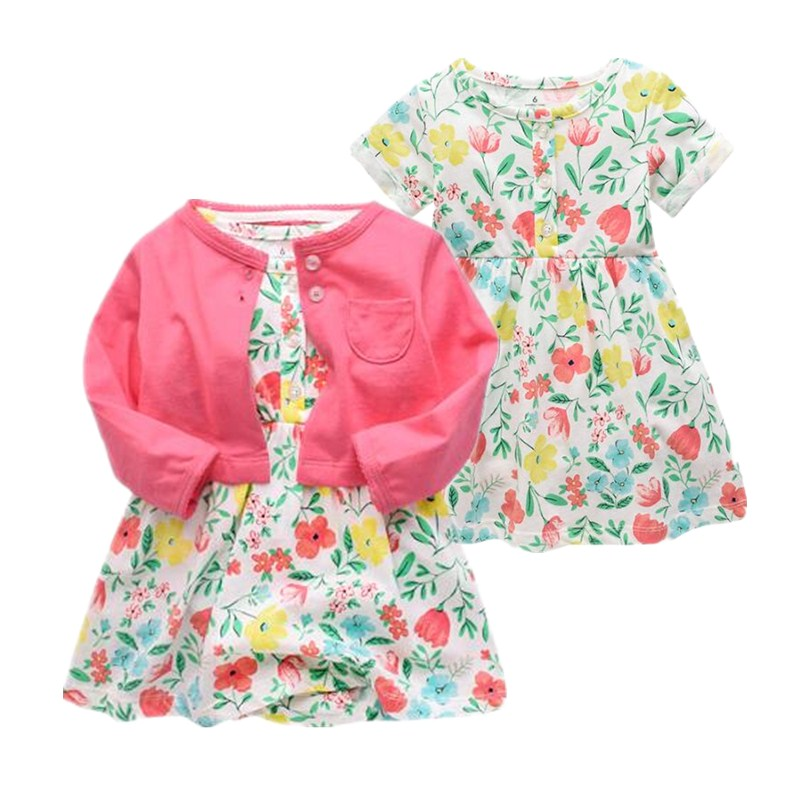 Baby Girls Dress Cotton Baby Cltohes Long Sleeves Knee-length Dress Clearance Sale