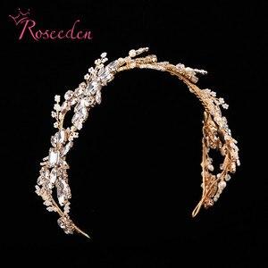 Image 3 - Bandeau de mariée en cristal de luxe avec strass, accessoires pour cheveux, diadèmes de mariée, bandeau élégant fait à la main, RE731