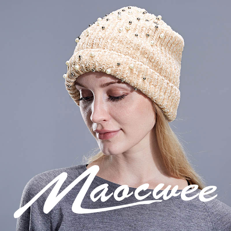 8e3c1ef313e Women `s Winter Hat Knitted Wool Flannel Beanies Female Fashion Skullies  Casual Outdoor Ski Caps Thick Warm Hats For Women