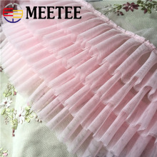купить 1Meter Bubble Skirt Chiffon Lace Trim Net Mesh Ruffle Pleated  Fabric Doll Pet Dress  Ribbon DIY Sewing Accessories в интернет-магазине