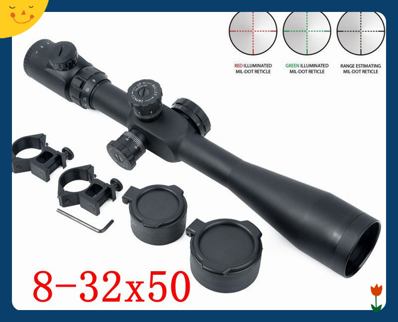 Tactical Rifle Scope 8-32X50 SF Sniper Optics Mil Dot RBG Illumination Hunting Rifle Sight Shooting Riflescope with 20mm Mount tactial qd release rifle scope 3 9x32 1maol mil dot hunting riflescope with sun shade tactical optical sight tube equipment