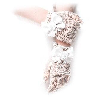 Belleza perla guantes de boda para niñas malla Noche de vacaciones de los Niños Accesorios con Halloween día cumpleaños arco rendimiento Gl