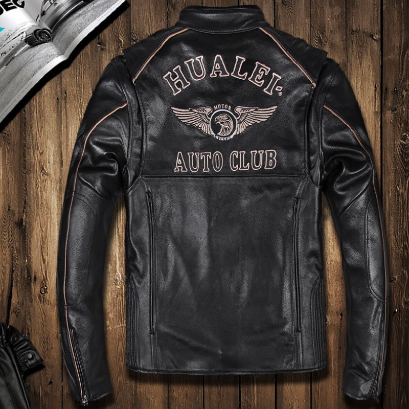 Spring And Autumn Male Motorcycle Leather Jacket Thick Cowhide Genuine Leather Clothing  ...