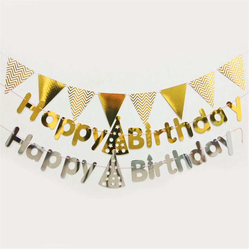 Shiny Paper Happy Birthday Bunting Banner Party Baby Shower Decor Letter Hanging Garlands Pastel String Reflective Hat Flags,8