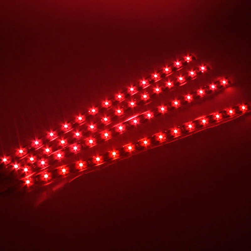 4PCS Red 30cm 15 SMD LED 3528 Flexible Strip Light Decorative Lamp Waterproof for DC 12V Home Car Strip Tube Light