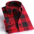 Primavera 2017 Camisas de Tela Escocesa Ocasional de Los Hombres de Manga Larga Slim Fit Soft Comfort Franela Cepillado Camisa de Algodón Estilos de Ocio Hombre ropa