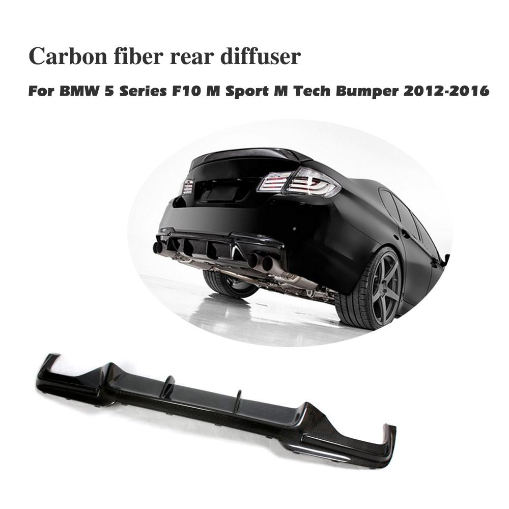 Carbon Fiber / FRP Rear Bumper Diffuser Lip Spoiler For BMW 5 series F10 M Sport Bumper 2012-2016 V Style Car Tuning Parts 5 series carbon fiber rear bumper lip spoiler diffuser for bmw f10 m sport sedan 2012 2016 d style grey frp dual exhaust two out