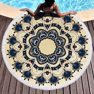 Image 1 - Пляжные полотенца с изображением цветов мандалы, пляжные полотенца с кисточками из микрофибры, круглые полотенца для ванной, летние спортивные полотенца для йоги, пикника, Toalla De Playa