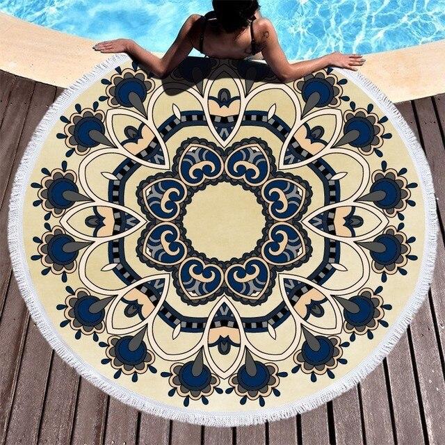 Пляжные полотенца с изображением цветов мандалы, пляжные полотенца с кисточками из микрофибры, круглые полотенца для ванной, летние спортивные полотенца для йоги, пикника, Toalla De Playa