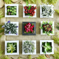 3D DIY Handmade Artificial Succulent Plant Wood Photo Frame Wall Hanging Imitation Artificial Flowers Home Decor Living Room