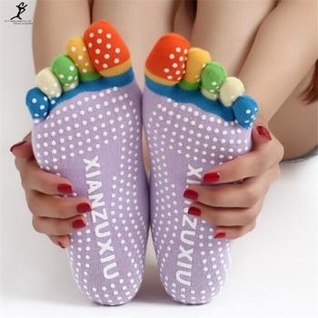 NEW Women Sports Colorful Yoga Socks Hot Fitness And Pilates Cotton Socks New Colorful Workout Anti Slip Toe Yoga Sport Socks