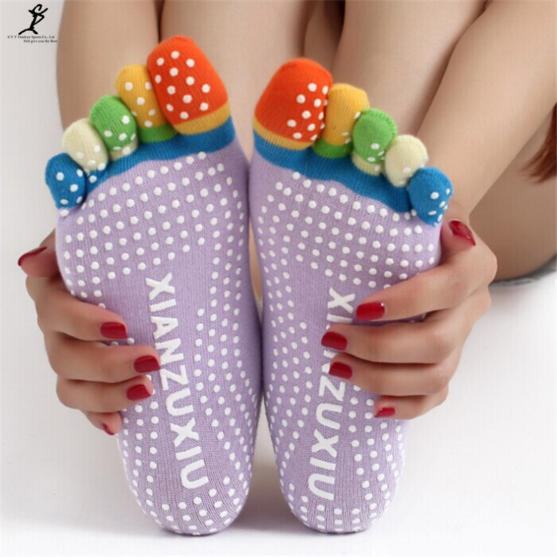 NEW 2016 Sports Colorful Yoga Socks Fitness Cotton Socks Women Pilates Socks 6 Colors Free Size
