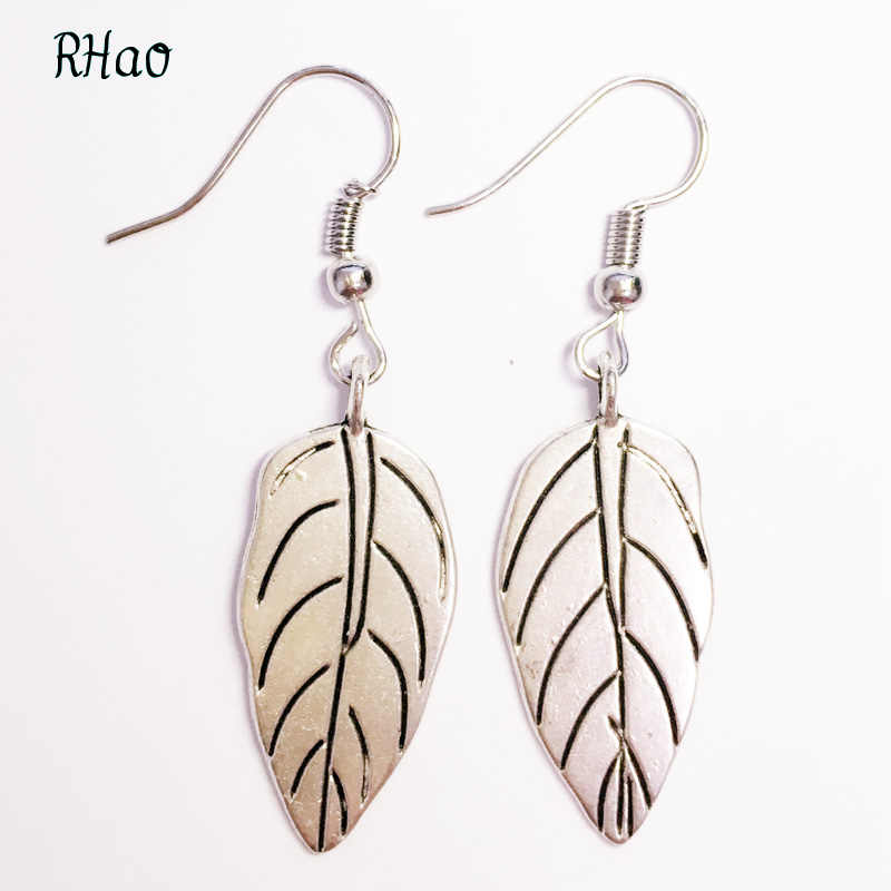 Vintage Leaf Drop Earrings Trendy Wanita perak warna Logam Dangles bulu Merak Anting Geometris