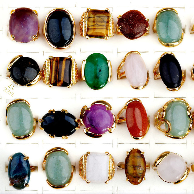 12Pcs/Lot Vinatge Mix Big Natural Stone Rings Gold Plated Wide Finger Ring For Women Men Wedding Jewelry Wholesale