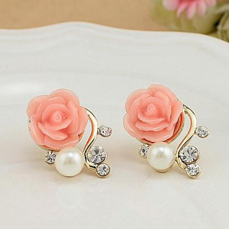 Jewelry New Brand Design Gold Plated Rose Pearl Stud Earrings For Women 2017 New Accessories Wholesale Orecchini Perlas Earing chain