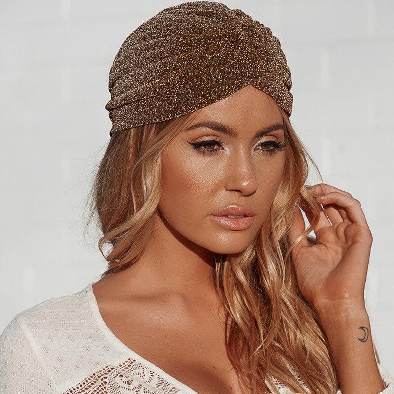 Women Lady Bling Silver Gold Knot Twist Turban Headbands Cap Autumn Winter Warm   Headwear   Casual Streetwear Female Indian Hats