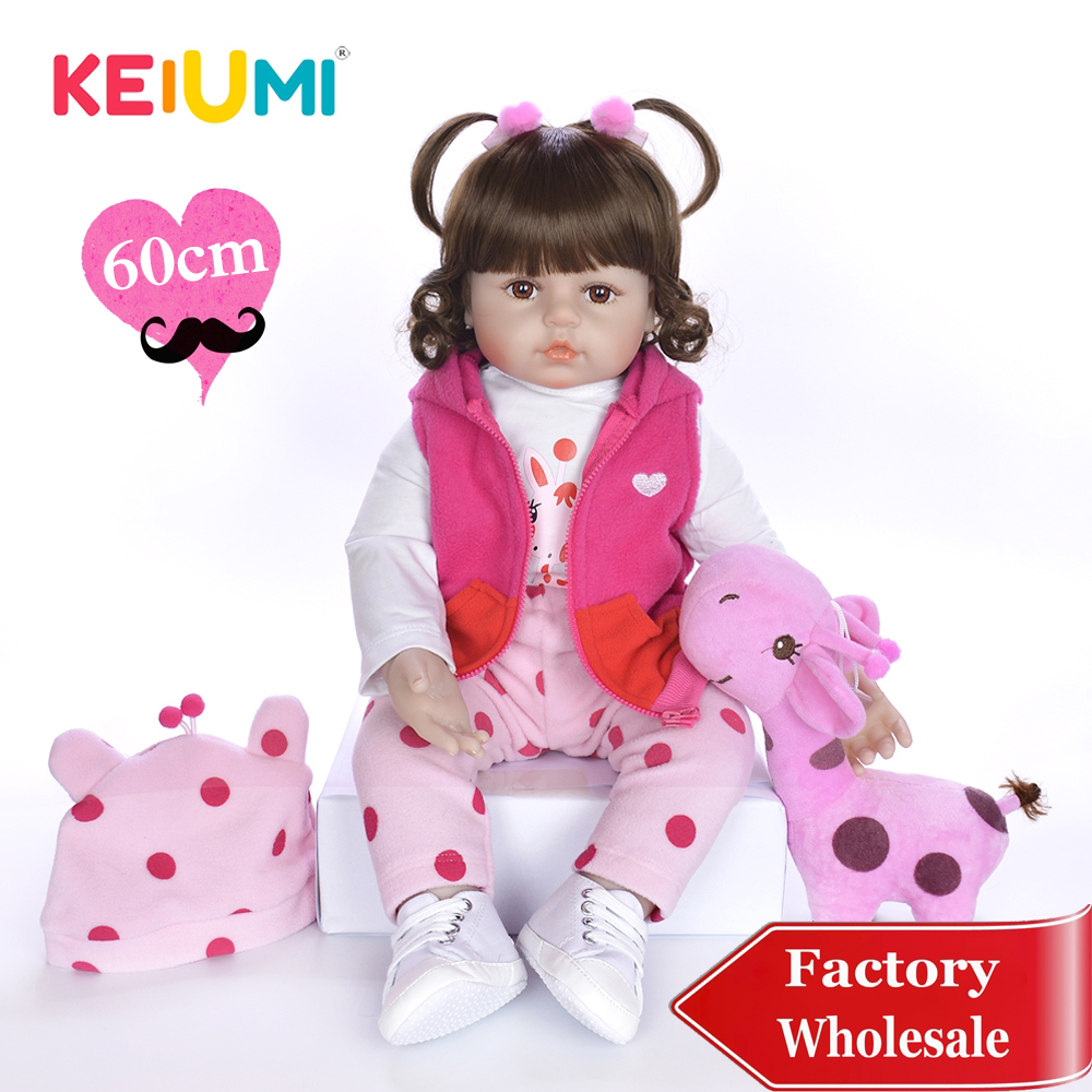 KEIUMI 24 Curls Reborn Silicone Baby Dolls Realistic Reborn Menina Boneca Stuffed Doll For Mother and