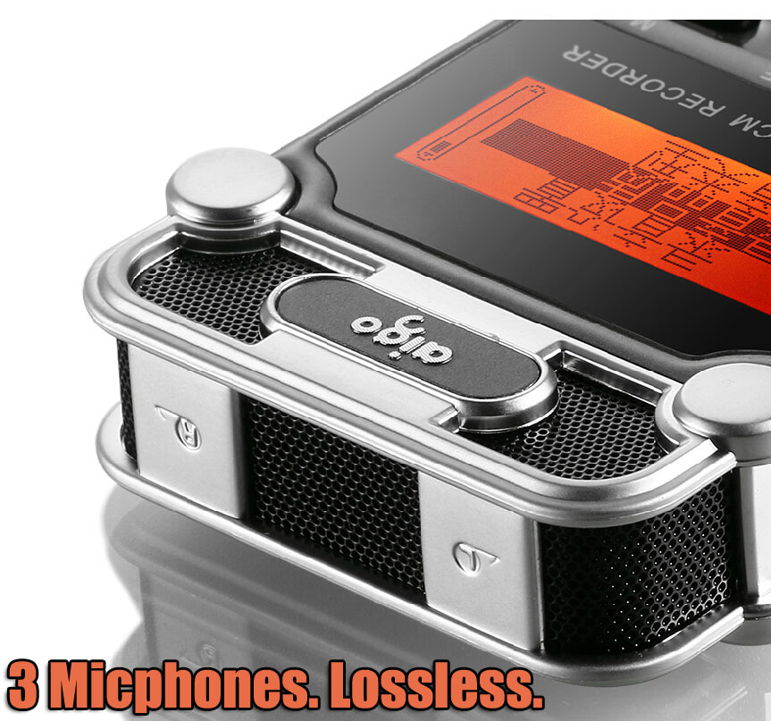 W986 3 microphones Lossless Digital Professional Voice Music Meeting Mp3 Recorder SLR Micro PCM Sound Recording 8 G zoom q2hd 1080p hd video camera recorder digital professional voice music meeting mp3 recorder slr micro audio sound recording