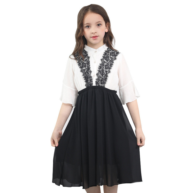 Teenage Girls Clothes 10 12 14 16 Years White Black Kids Summer Dress Patchwork Dresses for Girls Chiffon Loose Princess Dresses
