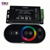Wholesale 1 Pcs DC12 24V 6Ax3channel RBG Controller GT666 Touch Led Controller