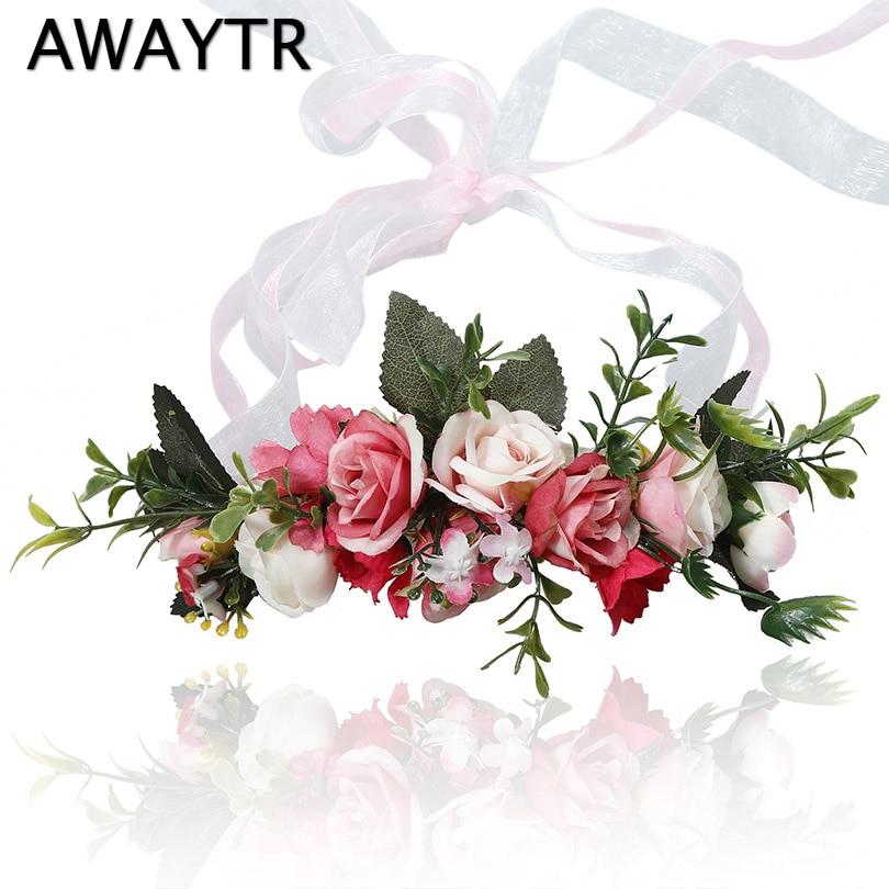 AWAYTR 2019 Spring   Headwear   Fruit Flower Head Band for Women Wedding Bridal Garlands Hair Ornaments Party Ribbon Crown