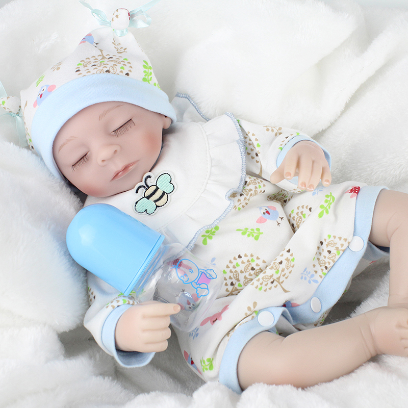 ФОТО 40cm Soft Silicone Reborn Dolls Toys 17inch Lovely Doll Realistic Alive Lifelike Baby Doll Accompany Baby Playmate Brinquedos