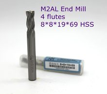 router bit 10 pcs of 8*8*19*69 with 4 Flute HSS M2AL end mill for CNC milling machine tools mills cutter(China)