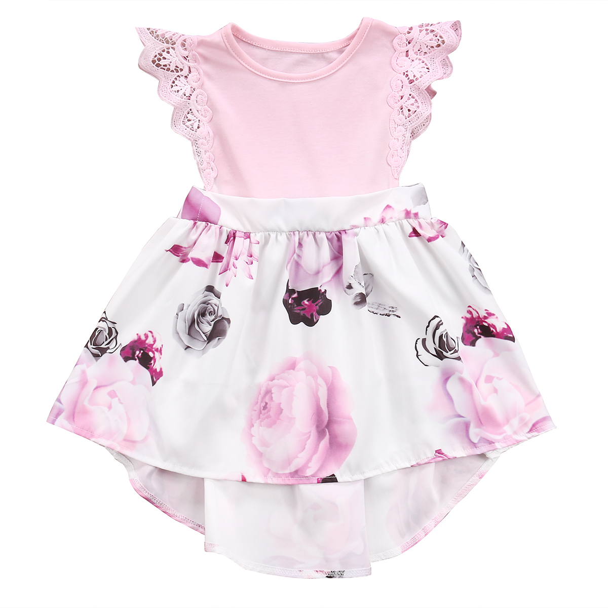 Kid Baby Girls Toddler Short Sleeve Summer Flower Tutu Princess Party Mini Dress